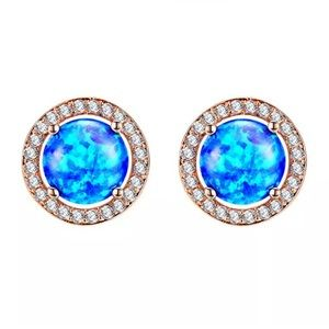 BRAND NEW 18KT/925S BLUE OPAL/WHITE SAPPHIRE HALO